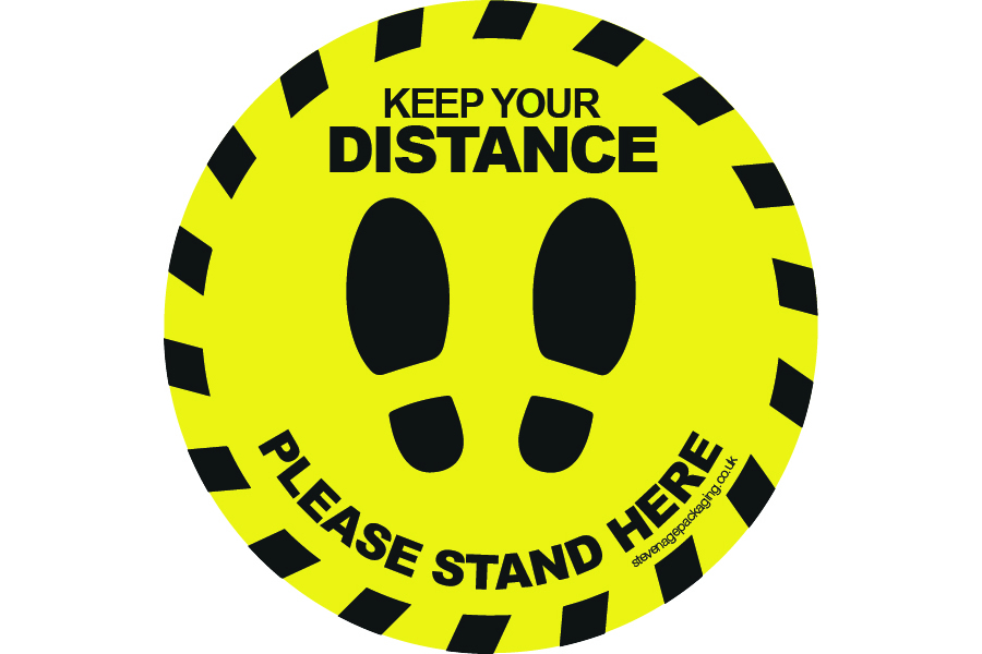 Keep Your Distance </br>Round Floor Stickers <br>Yellow / Black