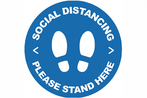 Social Distancing - Stand HereFloor Stickers Blue/White