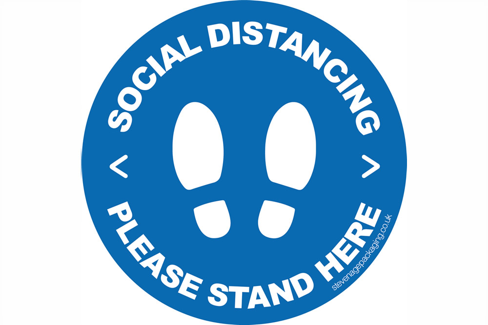 Social Distancing - Stand Here</br>Floor Stickers <br>Blue/White