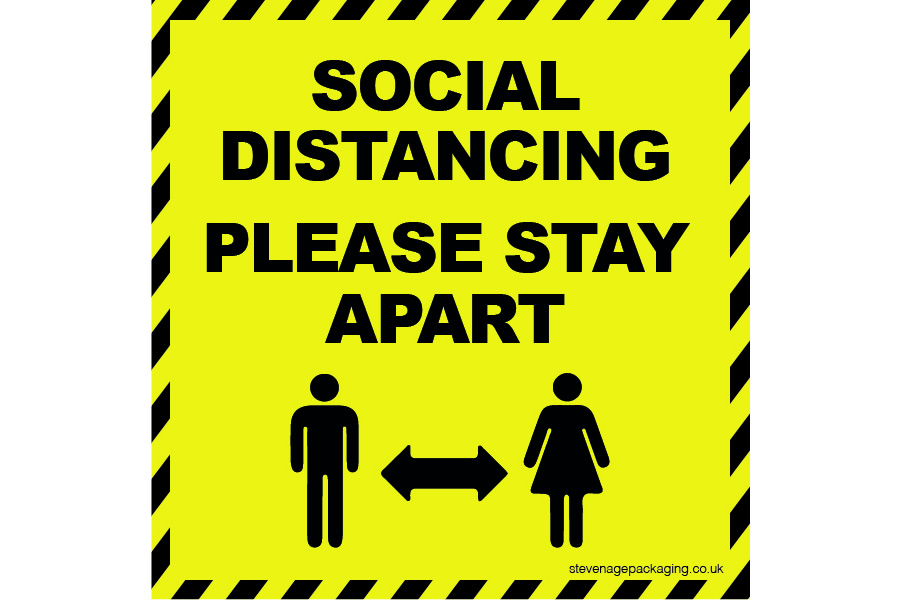 Social Distancing Internal Window Stickers Yellow / Black