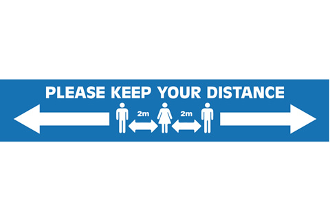 Keep Your Distance Floor Stickers Blue/White