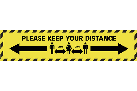 Keep Your Distance Floor Stickers Yellow / Black