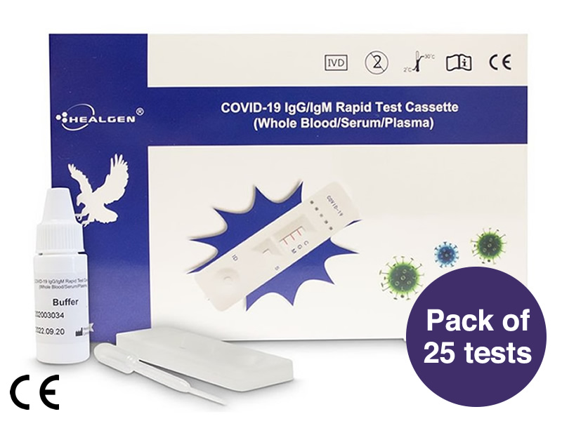 Healgen Covid-19 <br><span style=color:#512d6d>Rapid Lateral Flow Antibody</span> <br>Test Kit (Box of 25)