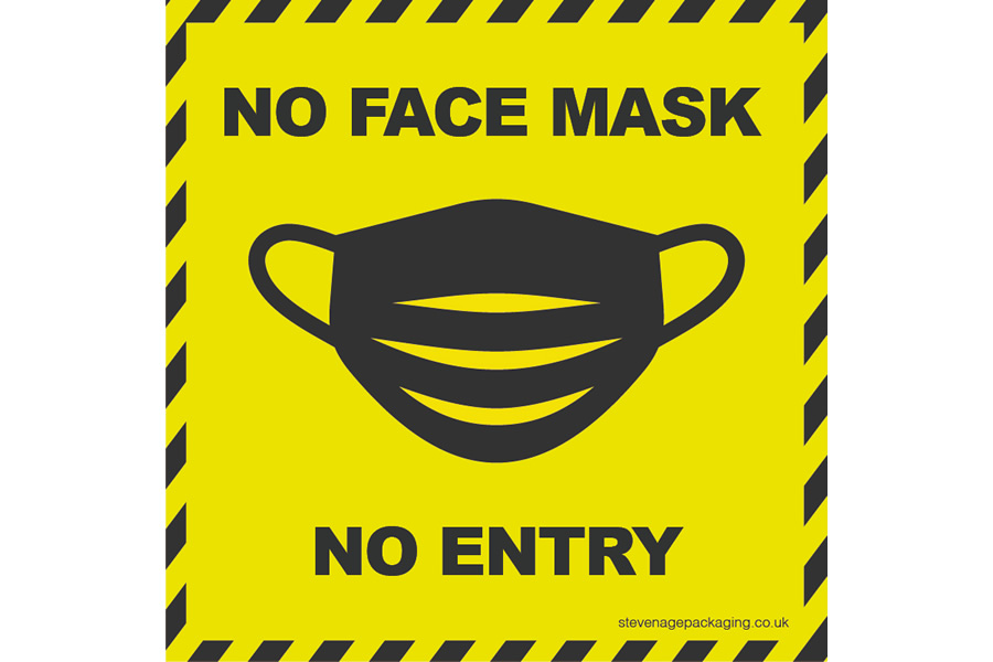 No Face Mask <br/>No Entry <br/>Window Stickers <br>Yellow / Black