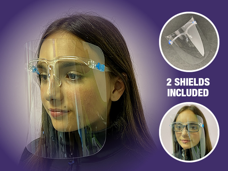Reusable Face Shield Glasses <span style=color:#ff0000>+ Free Replacement Shield</span>
